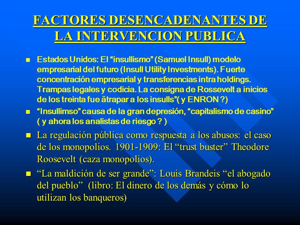 FACTORES DESENCADENANTES DE LA INTERVENCION PUBLICA n Enfrentamiento a los grandes monopolios.