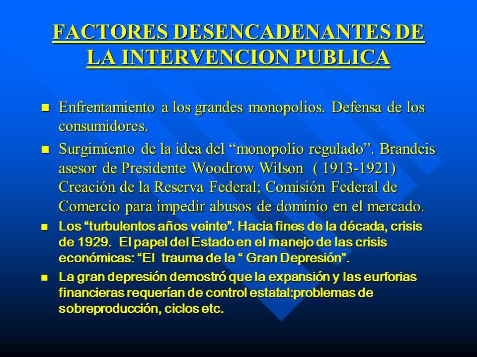 FACTORES DESENCADENANTES DE LA INTERVENCION PUBLICA n n Estados Unidos 1933: New Deal de Franklin Delano Roosvelt: inspiración keynesiana, expansión de la autoridad pública en la economía.