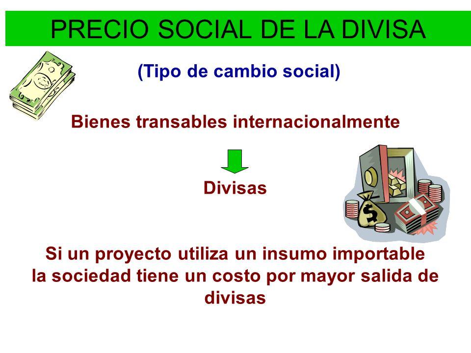PRECIO SOCIAL DE LA DIVISA Cuatro situaciones en que intervienen divisas: Se dispone de una mayor cantidad de divisas: proyecto que aumenta las exportaciones.
