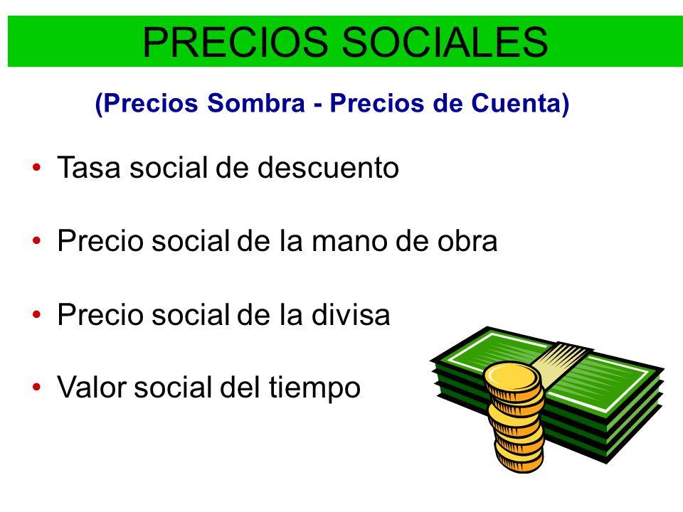 PROYECTO DE IMPERMEABILIZACIÓN DE UN CANAL BENEFICIOS DIRECTOS (BD): Ingresan DIVISAS Se usan más recursos (TRABAJO, DIVISAS, etc.) COSTOS DIRECTOS (CD): bienes que componen la inversión (MANO DE OBRA, DIVISAS, etc.) VAN SOCIAL: TASA DE DESCUENTO PRECIOS SOCIALES