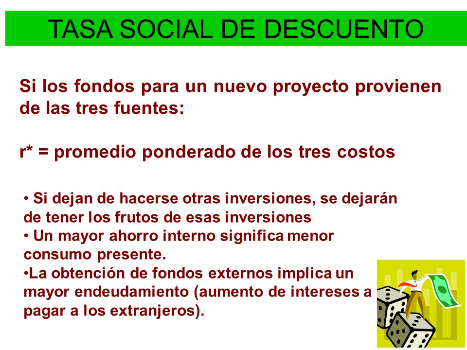 TASA SOCIAL DE DESCUENTO PaísTasaReferencias Argentina12% Resolución N° 110/96 de la Secretaría de Programación EconómicaResolución N° 110/96 de la Secretaría de Programación Económica* (1996) Bolivia12,07%Ministerio de Hacienda, Resolución No.