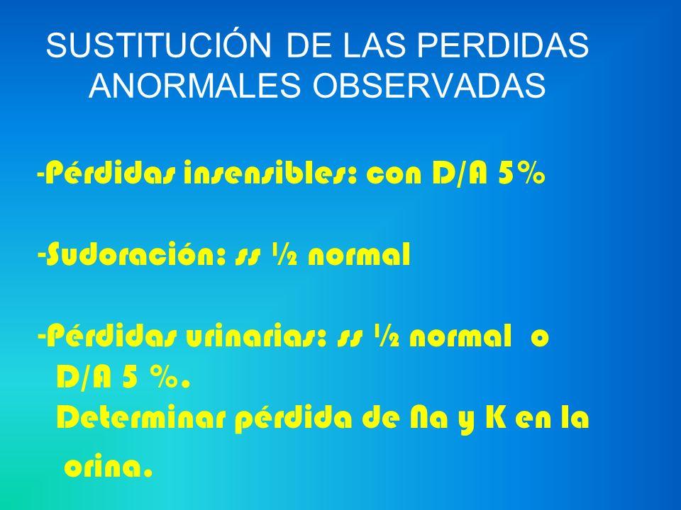 SUSTITUCIÓN DE LAS PERDIDAS ANORMALES OBSERVADAS Pérdidas gastrointestinales : D/A 5 % 700 ml SSN 300 ml KCL 20 mEq (10 ml)
