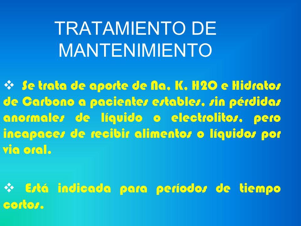 TRATAMIENTO DE MANTENIMIENTO REQUERIMIENTOS DIARIOS Agua 1000 a 2000 cc Potasio 40 a 60 mEq Sodio 70 mEq Hidratos de carbono 100 a 150 g