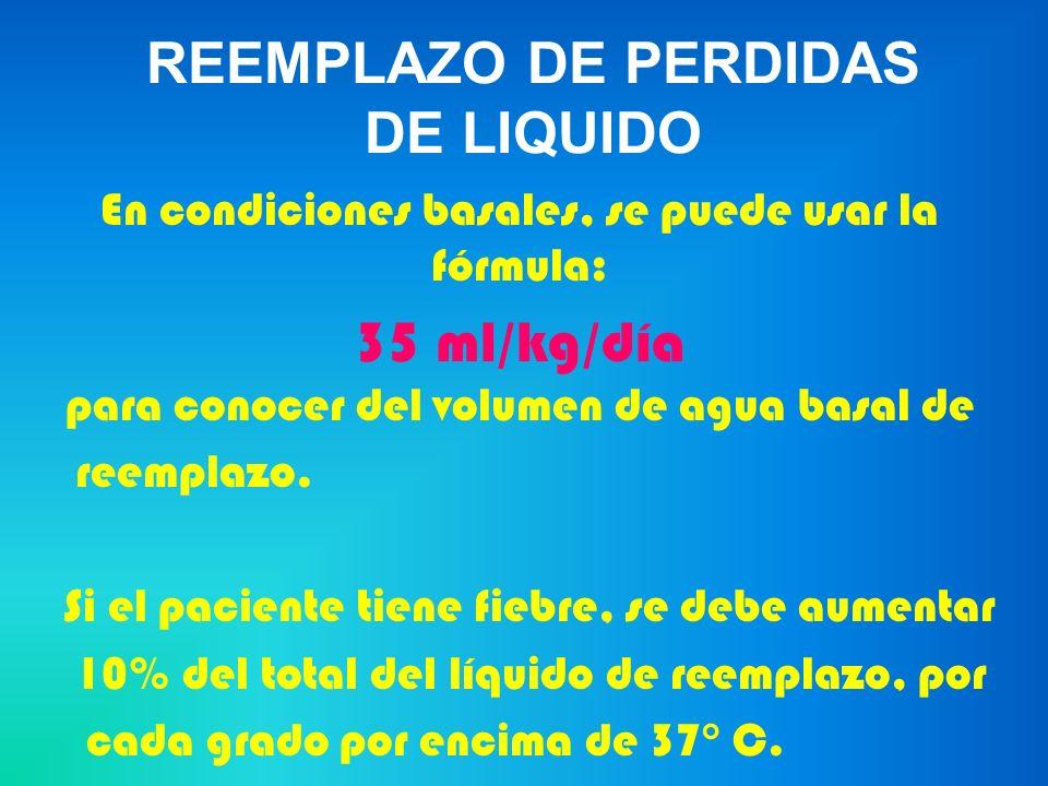 TRATAMIENTO DE MANTENIMIENTO Ejemplo a)1000 cc de D/SSN + 20 mEq de KCL b) 1000 cc de D/A 10% + 20 mEq de KCL Que aportan: 2 litros de agua, 40 mEq de K, 125 gramos de carbohidratos y 77 mEq de Na.