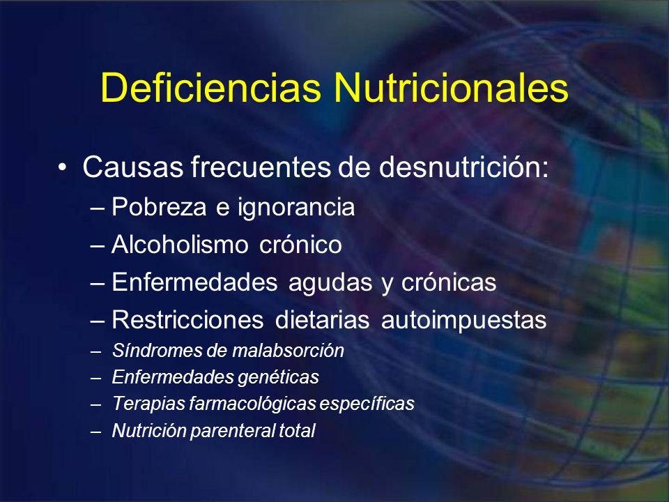 Deficiencias Nutricionales Malnutrición protéico calórica Anorexia nerviosa y bulimia Deficiencia de vitaminas Deficiencia de minerales Marasmo Kwashiorkor