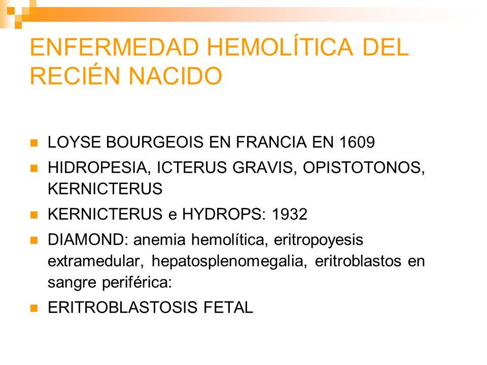 ENFERMEDAD HEMOLÍTICA DEL RECIÉN NACIDO Levine y Stetson en 1939: Rx postransfu-sional en mujer transfundida con sangre de su esposo después de un óbito.
