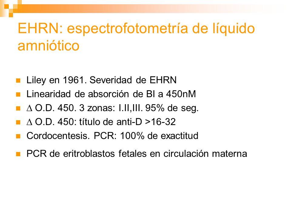 EHRN: Tratamiento Supresión de aloinmunización: Rhogam 16% de mujeres Rh - con bebe Rh+ Inmunización activa a un Ag es prevenida por un Ab pasivo contra el Ag Rhogam, IgG anti-D, 300 g a las 28 sem, cada 12 sem.