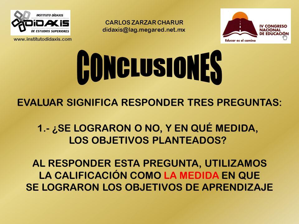www.institutodidaxis.com CARLOS ZARZAR CHARUR didaxis@lag.megared.net.mx EVALUAR SIGNIFICA RESPONDER TRES PREGUNTAS: 1.- ¿SE LOGRARON O NO, Y EN QUÉ MEDIDA, LOS OBJETIVOS PLANTEADOS.