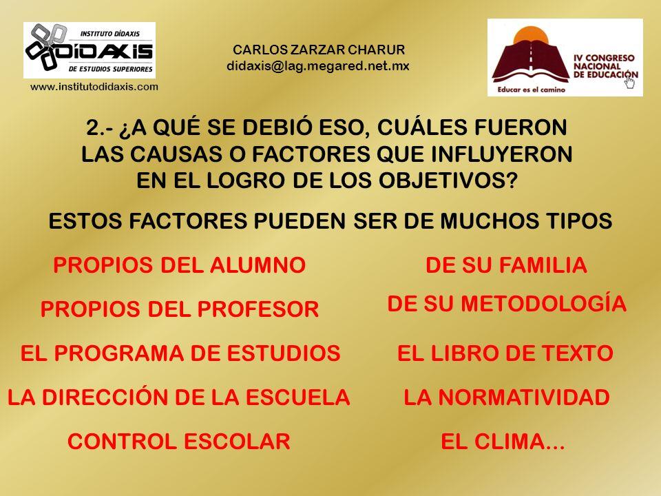 www.institutodidaxis.com CARLOS ZARZAR CHARUR didaxis@lag.megared.net.mx 2.- ¿A QUÉ SE DEBIÓ ESO, CUÁLES FUERON LAS CAUSAS O FACTORES QUE INFLUYERON EN EL LOGRO DE LOS OBJETIVOS.
