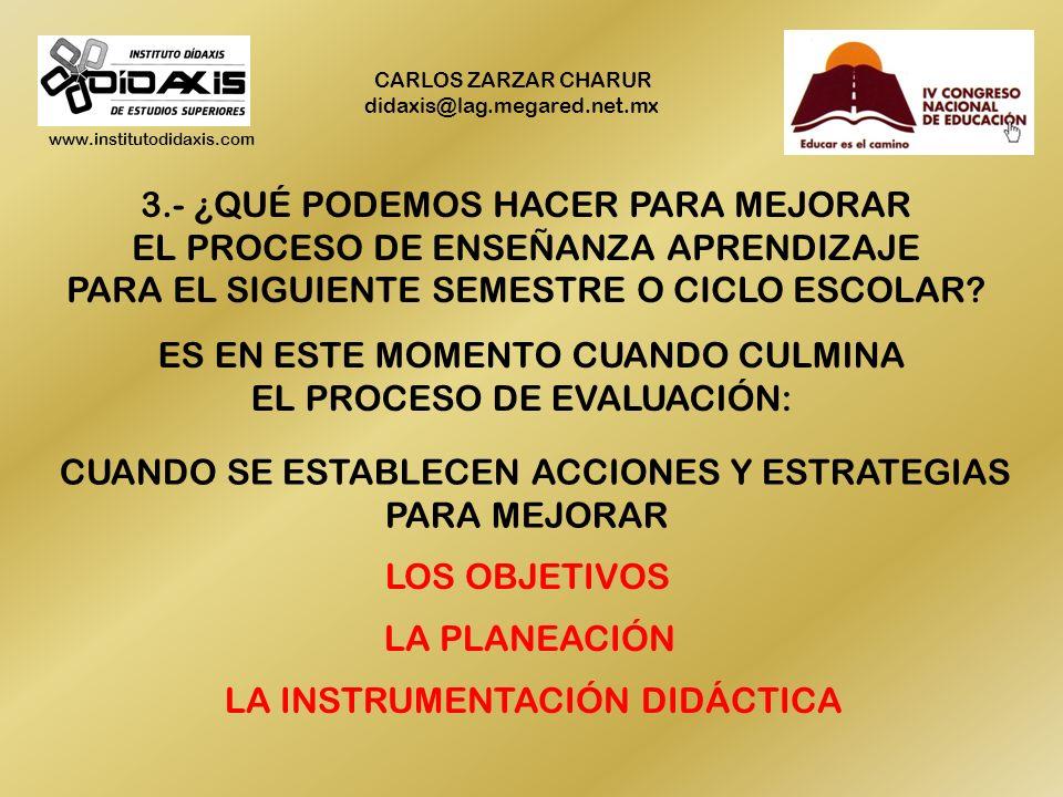 www.institutodidaxis.com CARLOS ZARZAR CHARUR didaxis@lag.megared.net.mx 3.- ¿QUÉ PODEMOS HACER PARA MEJORAR EL PROCESO DE ENSEÑANZA APRENDIZAJE PARA EL SIGUIENTE SEMESTRE O CICLO ESCOLAR.