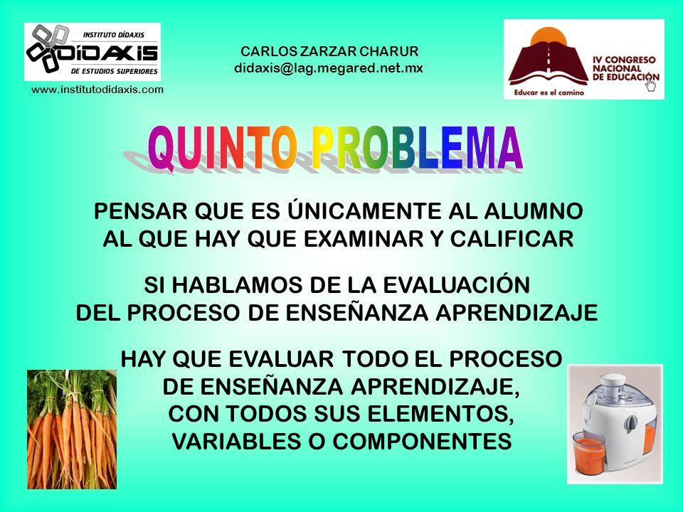 www.institutodidaxis.com CARLOS ZARZAR CHARUR didaxis@lag.megared.net.mx PENSAR QUE ES ÚNICAMENTE AL ALUMNO AL QUE HAY QUE EXAMINAR Y CALIFICAR SI HABLAMOS DE LA EVALUACIÓN DEL PROCESO DE ENSEÑANZA APRENDIZAJE HAY QUE EVALUAR TODO EL PROCESO DE ENSEÑANZA APRENDIZAJE, CON TODOS SUS ELEMENTOS, VARIABLES O COMPONENTES