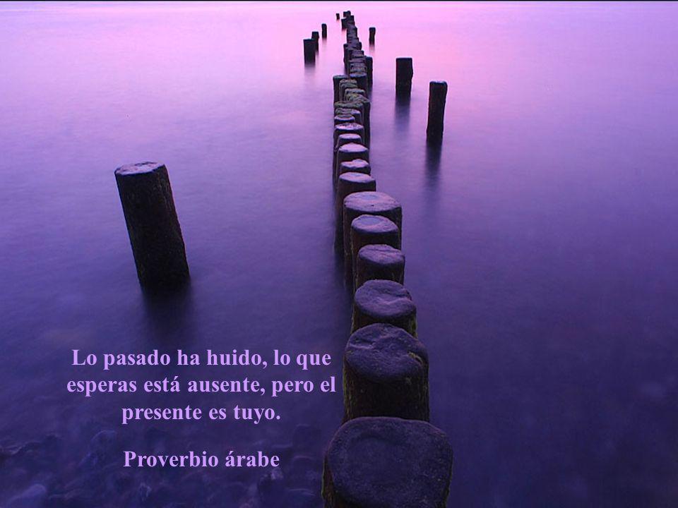 Lo pasado ha huido, lo que esperas está ausente, pero el presente es tuyo. Proverbio árabe