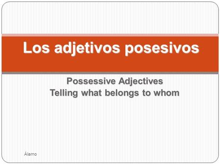 Possessive Adjectives Telling what belongs to whom Los adjetivos posesivos Álamo.