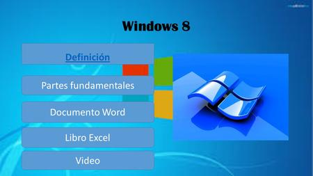 Windows 8 Definición Partes fundamentales Documento Word Libro Excel