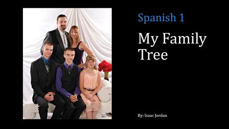 My Family Tree By: Isaac Jordan Spanish 1. Immediate family (Nosotros vivimos Durango, CO)
