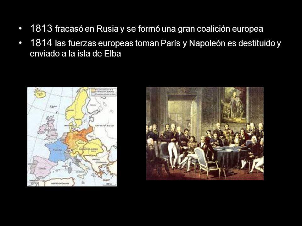 En ese mismo año se instauran los Borbones en Francia, pero el gran descontento del pueblo hizo que Napoleón regresara al poder pero solo durante 100 días.