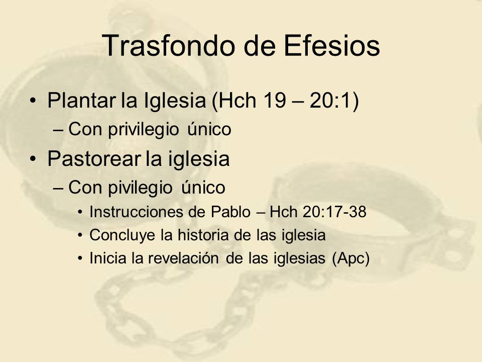 Líderes de la iglesia éfesa Primero – Aquila y Priscila (Hch 18:26) Segundo – Apolos Tercero – Pablo Cuarto – Timoteo 1 Tm 1:3