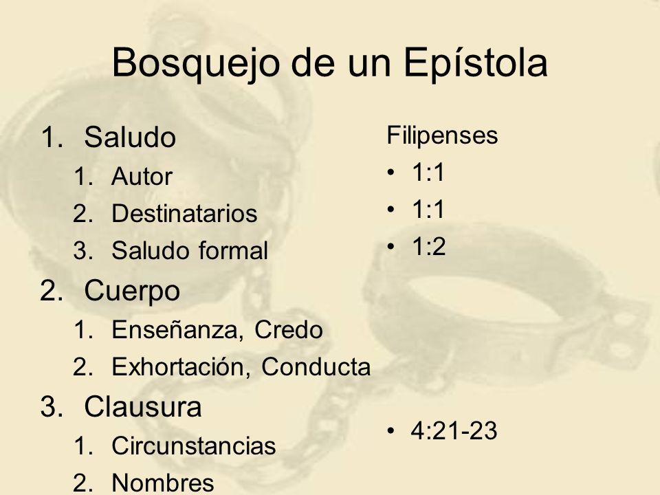Bosquejo de un Epístola 1.Saludo 1.Autor 2.Destinatarios 3.Saludo formal 2.Cuerpo 1.Enseñanza, Credo 2.Exhortación, Conducta 3.Clausura 1.Circunstancias 2.Nombres Colosenses 1:1 1:2a 1:2b 4:21-23
