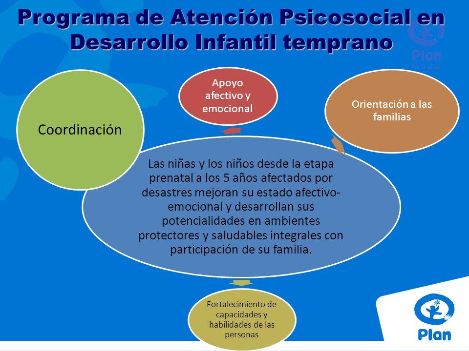 Prevención y promoción de ambientes seguros Asesoramiento y apoyo psicosocial Atención psicológica especializada Sesiones psicoeducativas en: derechos, salud y nutrición, construcción del buen trato y desarrollo infantil temprano.
