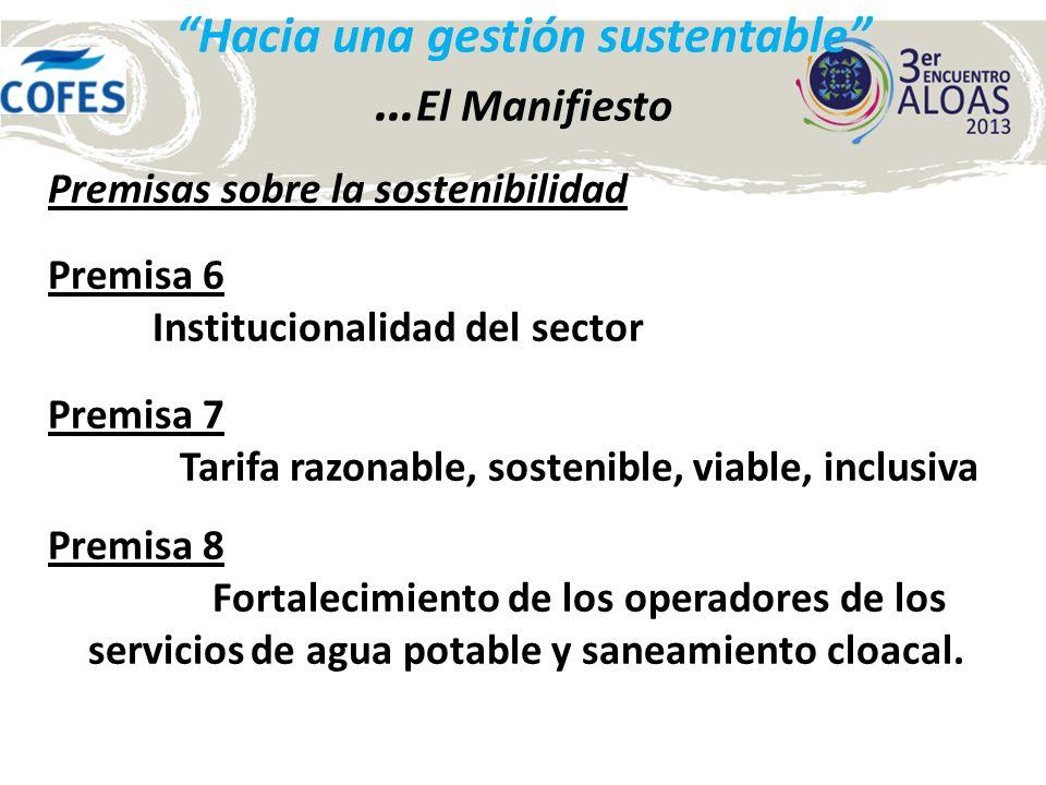 Hacia una gestión sustentable … sostenibilidad del sector Las acciones para su cumplimiento La sustentabilidad del sector requiere de una estructura gubernamental sólida, operadores competentes y de un adecuado financiamiento.