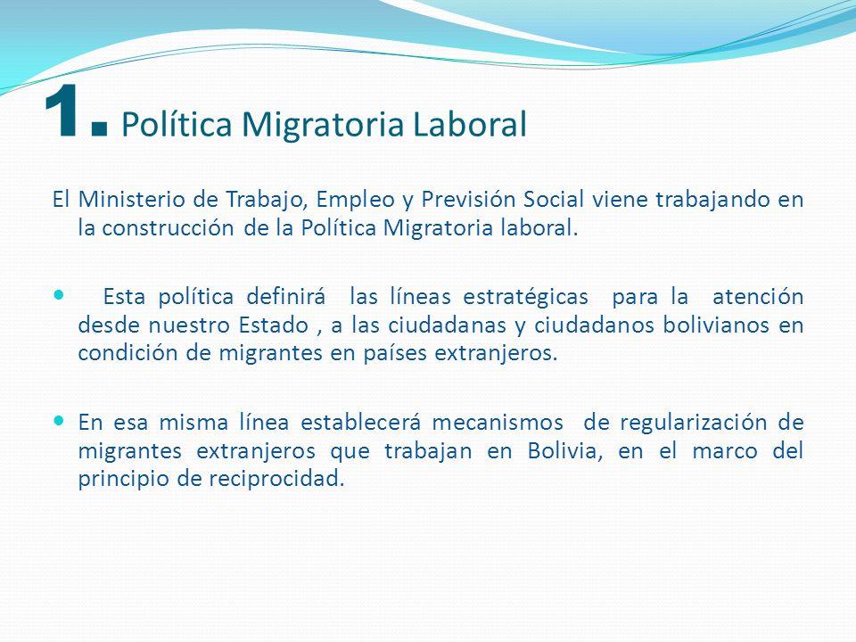 Actores clave en la construcción de la Política Migratoria Laboral Política Migratoria Laboral Ministerio de Trabajo, Empleo y Previsión Social Ministerio de Gobierno Defensor del Pueblo Ministerio de Relaciones Exteriores y Culto Organizaciones de la sociedad civil, y entidades relacionadas en la temática de migraciones Difusión y consenso