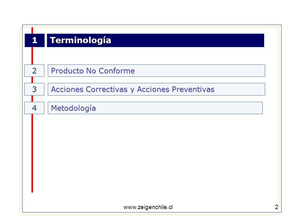 www.zeigenchile.cl3 Terminología No Conformidad:No cumplimiento de requisitos especificados en el Sistema de Gestión de calidad.