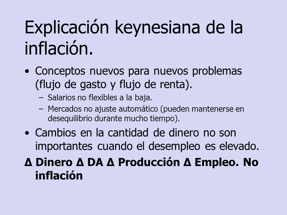 Política de estabilización Según la interpretación keynesiana: –Política fiscal: el incremento de determinados tipos impositivos puede desalentar el consumo (la demanda agregada).