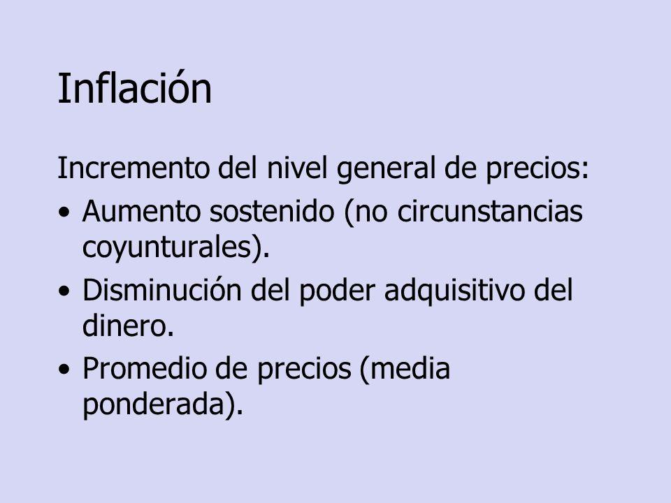 Tasa de inflación Porcentaje de variación del nivel general de precios entre 2 períodos consecutivos.