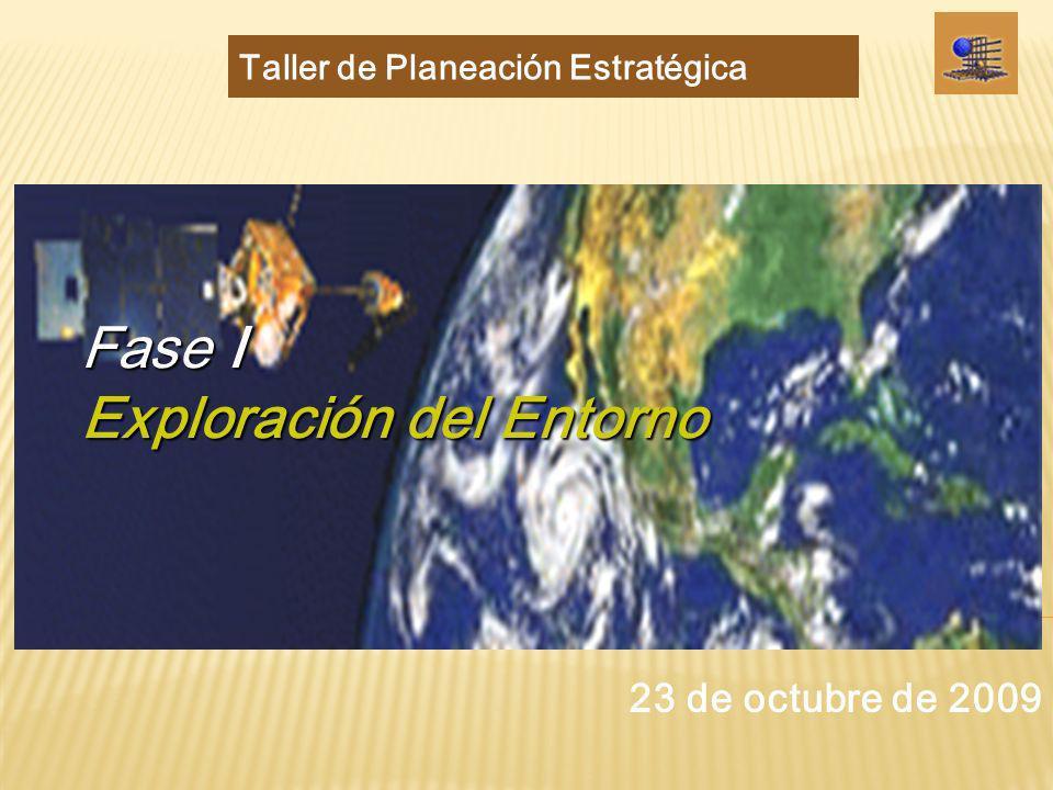 Objetivo: Construir escenarios probables sobre el entorno de la Entidad Académica en el año 2023 Exploración del entorno Fase I: Exploración del entorno