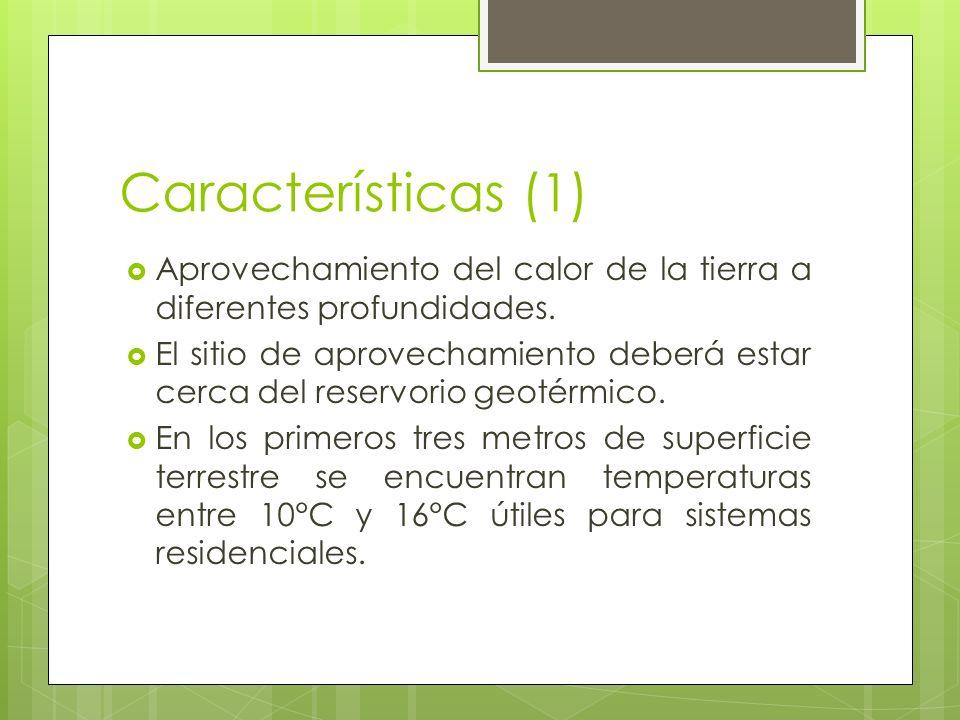 Características (2) Entre 3 y 5 km se puede aprovechar el recurso proveniente de las rocas secas calientes.