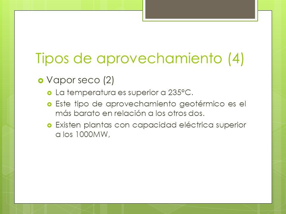 Tipos de aprovechamiento (5) Vapor flash(1) Este aprovechamiento geotérmico es el más común.