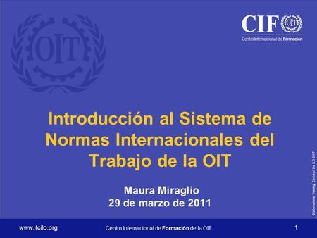 © International Training Centre of the ILO 2007 www.itcilo.org Centro Internacional de Formación de la OIT 1 Introducción al Sistema de Normas Internacionales.