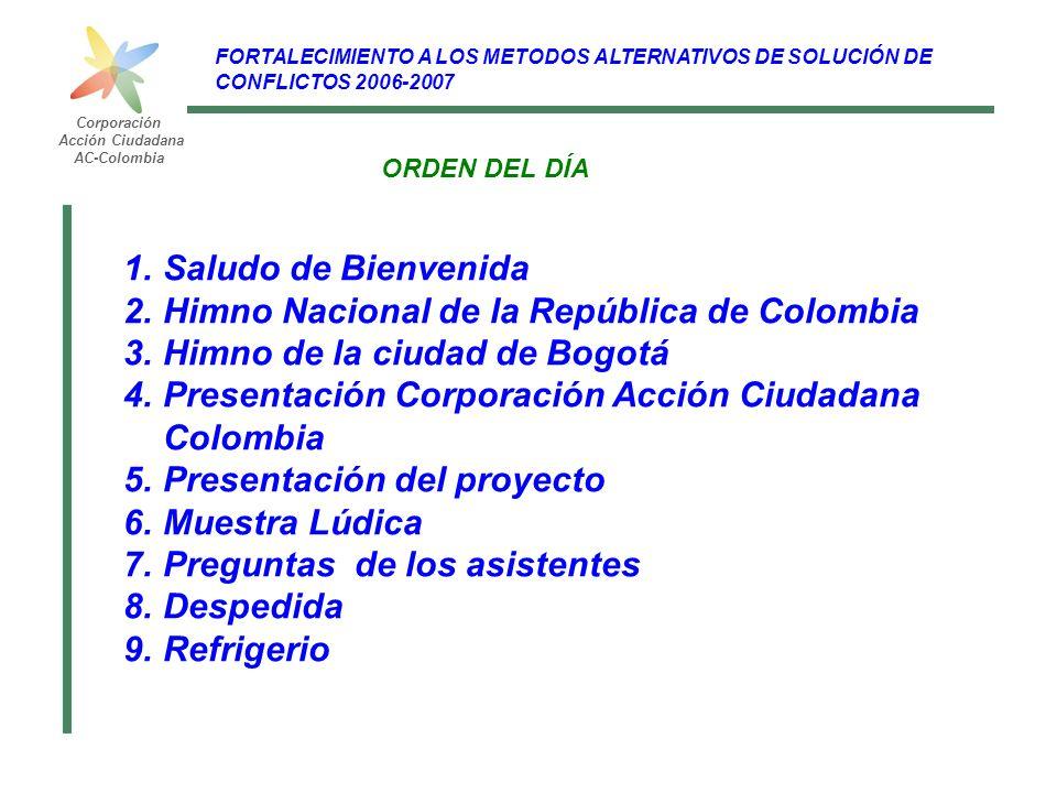 FORTALECIMIENTO A LOS METODOS ALTERNATIVOS DE SOLUCIÓN DE CONFLICTOS 2006-2007 Corporación Acción Ciudadana AC-Colombia ANTECEDENTES Fortalecer los procesos y las acciones para sensibilizar y concienciar a la comunidad NECESIDAD Fomentar la Cultura de la Paz y la utilización de mecanismos ciudadanos que contribuyan a resolver pacíficamente los conflictos Propiciar espacios para el diálogo y la concertación bajo los principios de la tolerancia, el respeto y la solidaridad