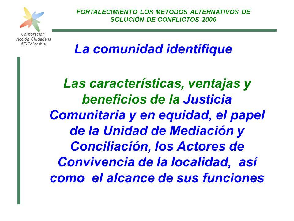 FORTALECIMIENTO A LOS METODOS ALTERNATIVOS DE SOLUCIÓN DE CONFLICTOS 2006 Corporación Acción Ciudadana AC-Colombia Cómo FASE 1 Presentación Invitar a la comunidad, organizaciones sociales e instituciones de la localidad a participar en el proyecto