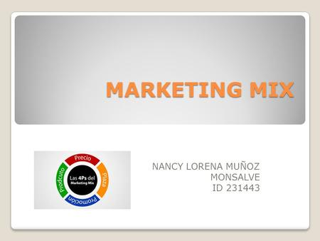 MARKETING MIX MARKETING MIX NANCY LORENA MUÑOZ MONSALVE ID 231443.
