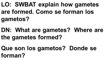 LO: SWBAT explain how gametes are formed. Como se forman los gametos? DN: What are gametes? Where are the gametes formed? Que son los gametos? Donde se.