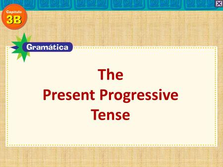 The Present Progressive Tense. To say that an action is happening right now, use the… present progressive. The Present Progressive Tense ¿Recuerdas?
