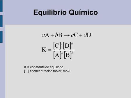 Constante de equilibrio quimico concepto