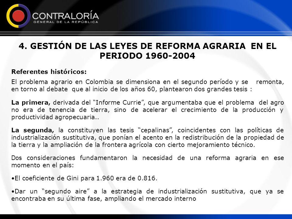 PROPOSITOS Y LOGROS DE LAS LEYES DE REFORMA AGRARIA EN EL PERIODO 1960-2004 Desde los años 60 se han promulgado nueve leyes con incidencia en la reforma agraria en Colombia, las cuales son: la ley 135 de 1961, la ley 1 de 1968, las leyes 4ª.
