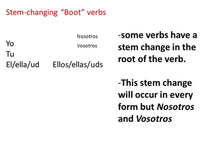 "Stem-changing ""Boot"" verbs Yo Tu El/ella/ud Ellos/ellas/uds -some verbs have a stem change in the root of the verb. -This stem change will occur in every."