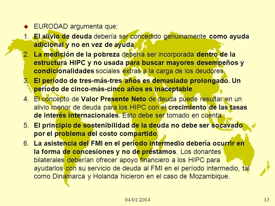 04/01/201414 Primera experiencia de la Iniciativa HIPC.