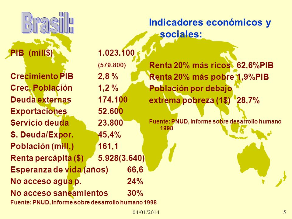 04/01/20146 Entre 1982 y 1990 los países del tercer mundo transfirieron pagaron a los industrializados 1.345.000 millones de dólares, en concepto de pago de deuda.