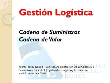 Logistica administracion de la cadena de suministro ronald ballou pdf