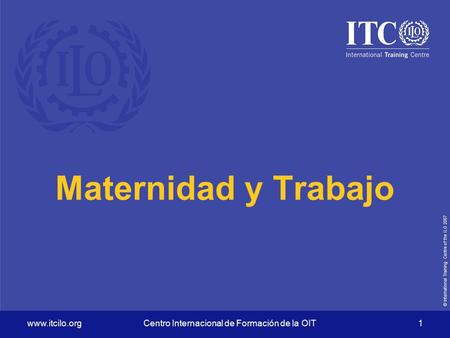 © International Training Centre of the ILO 2007 www.itcilo.orgCentro Internacional de Formación de la OIT 1 Maternidad y Trabajo.