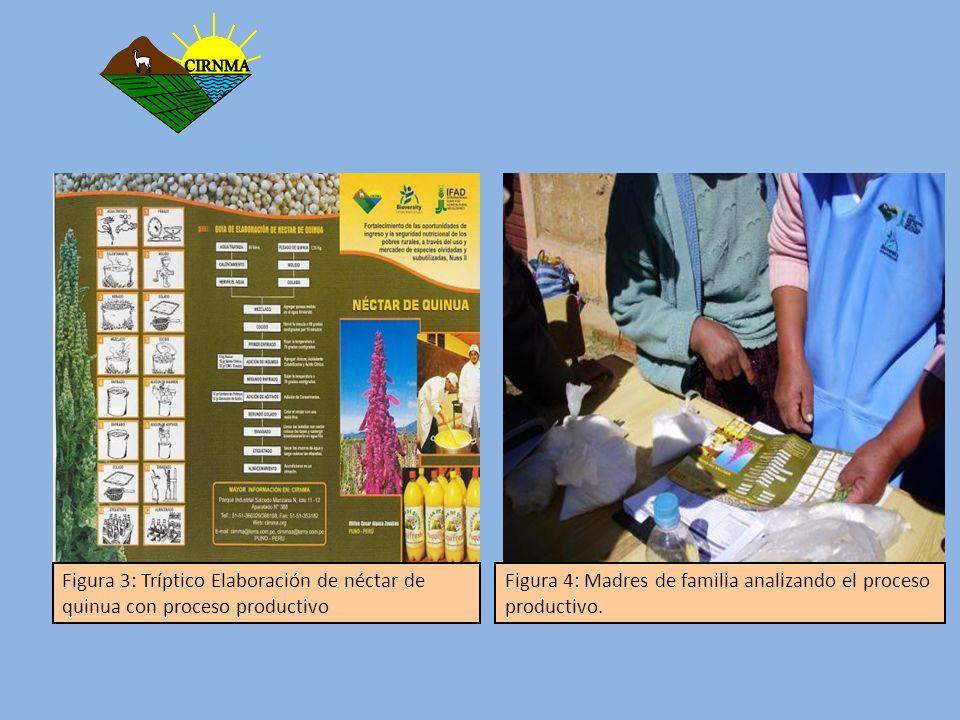 Resultados Producción de néctar de quinua Con el proyecto favorecimos a las EOS y a la mejora de ingresos que se pueden obtener con la transformación, se realizaron 19 talleres demostrativos, con la participación de 154 productores realizando la transformación de 1182 litro de néctar.