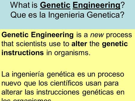 What is Genetic Engineering? Que es la Ingenieria Genetica? Genetic Engineering is a new process that scientists use to alter the genetic instructions.