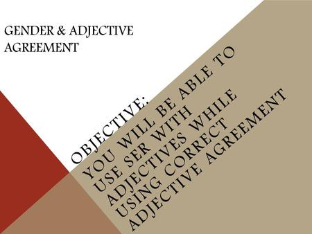 GENDER & ADJECTIVE AGREEMENT OBJECTIVE: YOU WILL BE ABLE TO USE SER WITH ADJECTIVES WHILE USING CORRECT ADJECTIVE AGREEMENT.