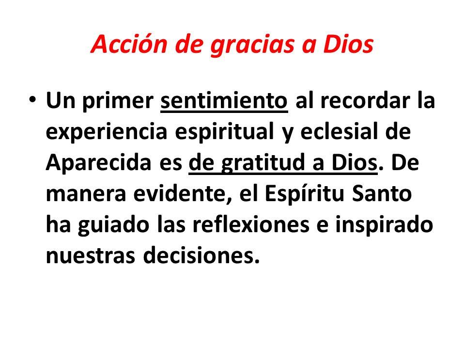 Acción de gracias a Dios por la Iglesia Latinoamericana Los aportes de las 22 Conferencias Episcopales (Documento de Síntesis) y las oraciones de muchos hermanos y hermanas.