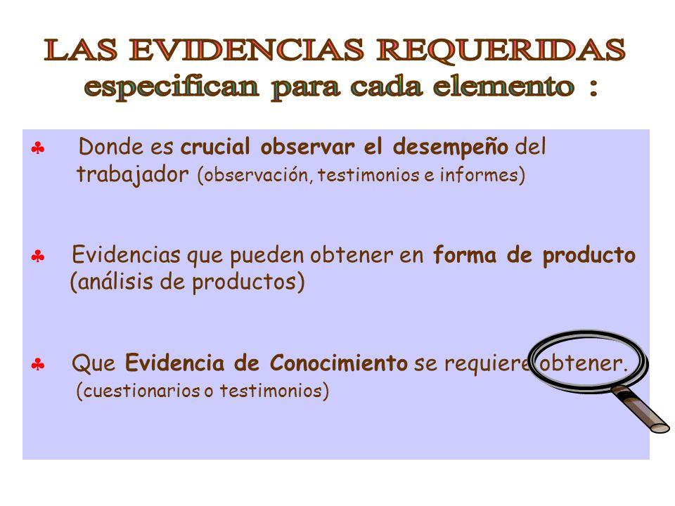  Donde es crucial observar el desempeño del trabajador (observación, testimonios e informes)  Evidencias que pueden obtener en forma de producto (análisis de productos)  Que Evidencia de Conocimiento se requiere obtener.