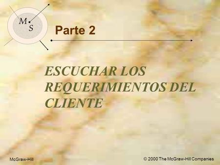 McGraw-Hill © 2000 The McGraw-Hill Companies 1 M S McGraw-Hill © 2000 The McGraw-Hill Companies Parte 2 ESCUCHAR LOS REQUERIMIENTOS DEL CLIENTE M S.